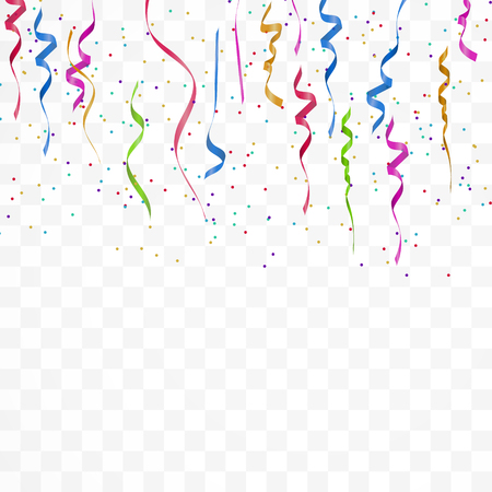 Realistic colorful bright confetti isolated on white transparent background. Celebration,party and festive flying  confetti backgrounds. Vector illustration Stock Illustratie