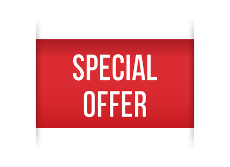 Red banner special offer Isolated on white background, for your design web site and branding banner. Vector Illustration Stock Illustratie