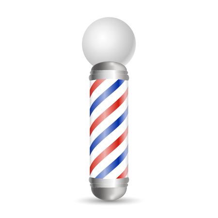 Realistic Barber pole. Glass barber shop poles with red, blue and white stripes. Isolated on white background, for your design and branding. Vector Illustration