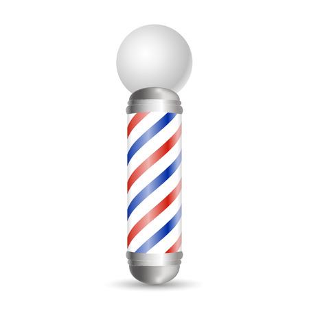 Realistische kapperspaal. Glazen kappers paaltjes met rode, blauwe en witte strepen. Geïsoleerd op een witte achtergrond, voor uw ontwerp en branding. vectorillustratie