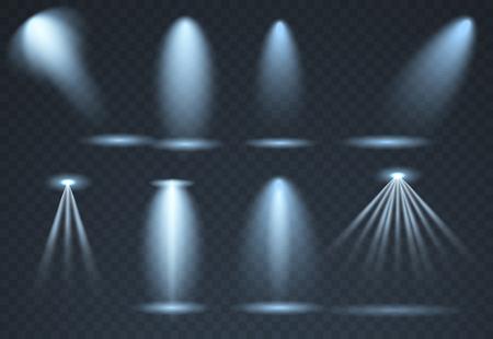 Large set of Blue scene illumination, transparent effects. Bright lighting with spotlights collection. Vector illustration Stock Illustratie