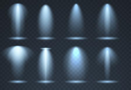 Large set of Blue scene illumination, transparent effects. Bright lighting with spotlights collection. Vector illustration Çizim