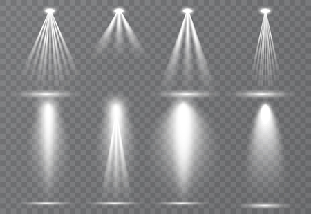 Large set of scene illumination, transparent effects. Bright lighting with spotlights collection. Vector illustration