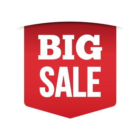 Red banner big sale Isolated on white background, for your design web site and branding banner. Vector Illustration