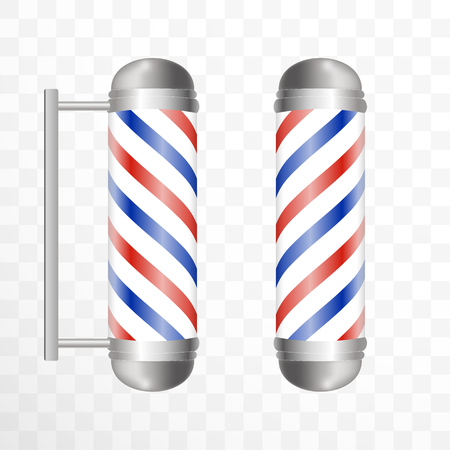 Realistic Barber pole. Two Glass barber shop poles with red, blue and white stripes. Isolated on white transparent background, for your design and branding.