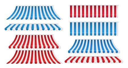 Conjunto de toldos coloridos de franja roja y blanca, azul y blanca para tienda. Sombrilla de tienda para mercado aislado sobre fondo blanco. Ilustración vectorial Ilustración de vector