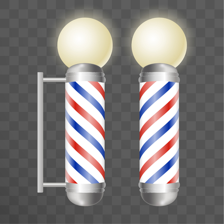 Realistic Barber pole. Two Glass barber shop poles with red, blue and white stripes with round light on top. Isolated on transparent background, for your design and branding. Vector Illustration