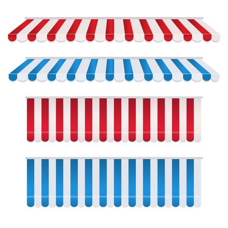 Conjunto de toldos coloridos de franja roja y blanca, azul y blanca para tienda. Sombrilla de tienda para mercado aislado sobre fondo blanco. Ilustración vectorial