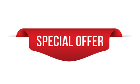 Red banner special offer Isolated on white background, for your design web site and branding banner. Vector Illustration Çizim