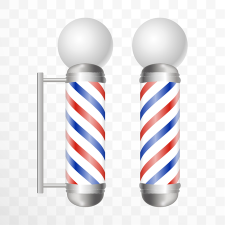 Realistic Barber pole. Two Glass barber shop poles with red, blue and white stripes with round light on top. Isolated on transparent background.