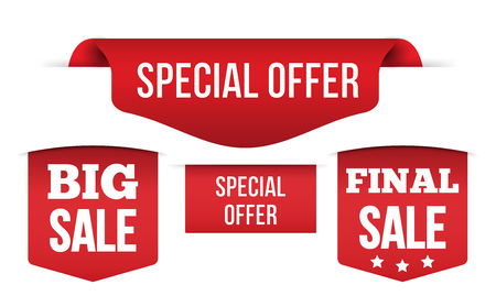 Set of Red banner special offer Isolated on white background, for your design web site and branding banner. Vector Illustration