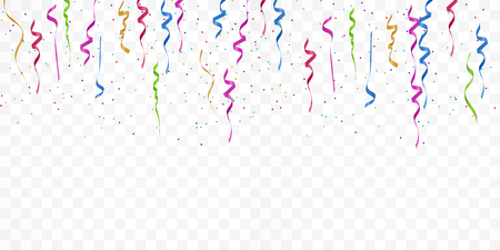 Realistic colorful bright confetti isolated on white transparent background. Celebration,party and festive flying  confetti backgrounds. Vector illustration Çizim