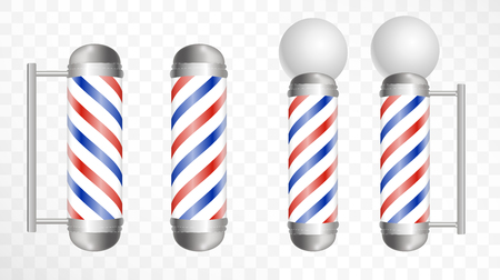 Realistic Barber pole. Glass barber shop poles with red, blue and white stripes. Isolated on white transparent  background, for your design and branding. Vector Illustration