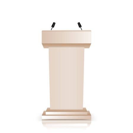 Brown stage stand or debate podium rostrum with microphones  isolated on white background. 3d realistic tribune  icons.