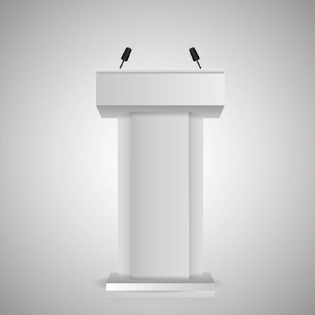 Gray stage stand or debate podium rostrum with microphones. 3d realistic tribune. Çizim