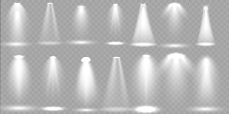 Scene illumination big collection, transparent illuminated effects. Bright concert with spotlights for your design. Vector Illustration