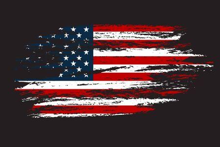 Bandera de grunge de los Estados Unidos. Ilustración de vector con arte de textura grunge. Ilustración de vector
