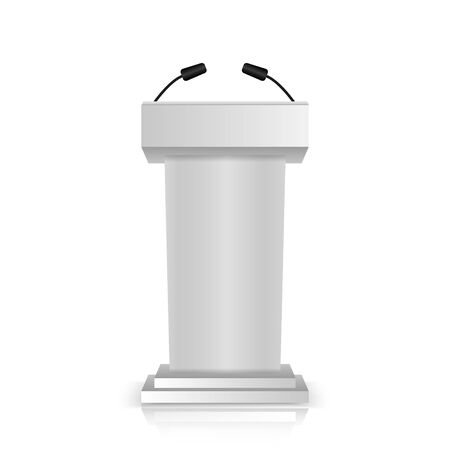 Gray stage stand or debate podium rostrum with microphones  isolated on white background. 3d realistic tribune.