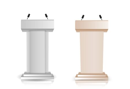 Set of Gray and Brown stage stand or debate podium rostrum with microphones  for speaker isolated on white background. 3d realistic tribune.