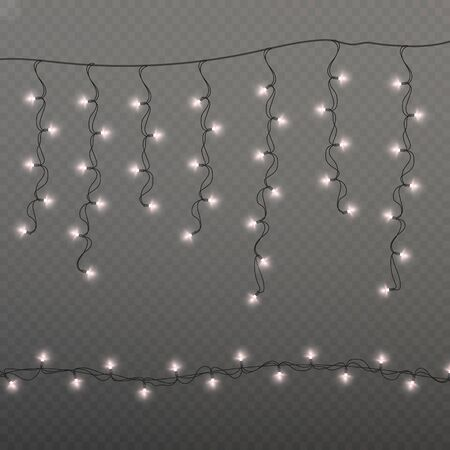Christmas lights solated on transparent background. Realistic Xmas design elements. Glowing lights for Xmas Holiday cards, Garlands decorations. Çizim