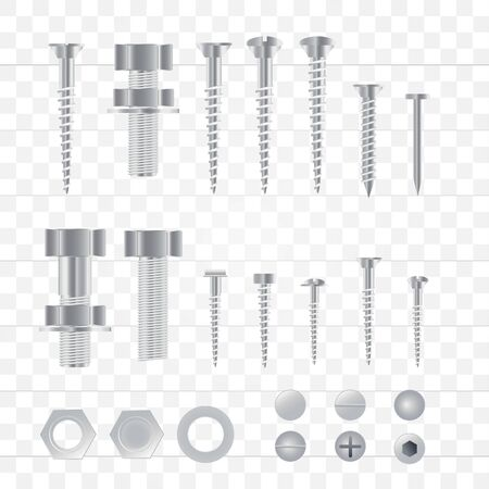 Set of 3d realistic metal screws, stainless steel bolts, nuts, rivets and nails isolated on a transparent background. Vector Illustration.