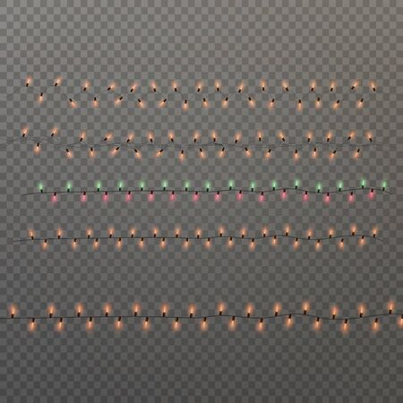 Colorful Christmas lights isolated on transparent background. Glowing lights garland with sparks. for Xmas Holiday cards, banners, posters, web design.