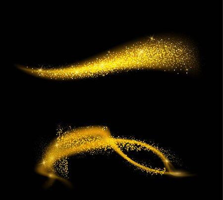 Conjunto de ondas doradas brillantes. Polvo brillante con partículas de oro. Cola de cometa brillante dorada sobre fondo negro.