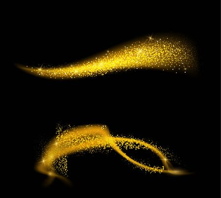 Golden glittering waves set. Sparkle dust with gold particles. Golden sparkling comet tail on black background.