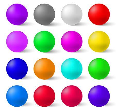 Zestaw kolorowych kulek błyszczący na białym tle. Realistyczna kolekcja do stworzenia własnego projektu Ilustracje wektorowe