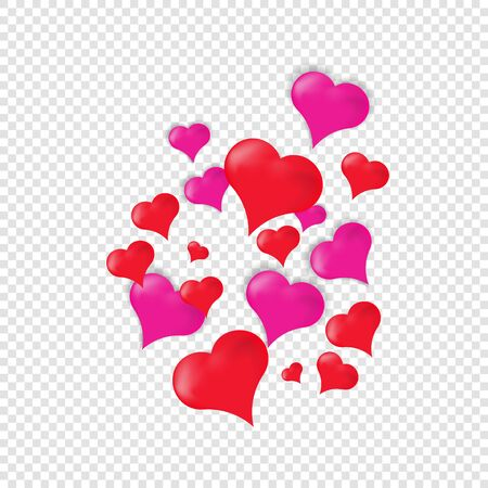 Realistic hearts pink and red, items for Valentines Day cards, isolated items for your design, banner, poster