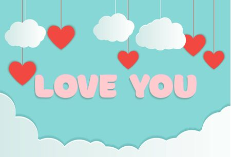 Valentines of paper craft design, red hearts and clouds are holding by sting on top, soft blue background , Happy Valentines Day Paper cut style on greeting card and poster. Vector illustration