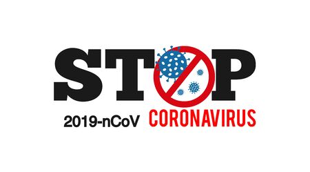 Sign caution coronavirus. Stop coronavirus. Icon Bacteria coronavirus. 2019-nCoV, . Coronavirus outbreak. Pandemic medical concept with dangerous cells Isolated on white background