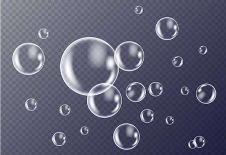 Realistic white water bubbles with reflection on transparent background. Vector illustration