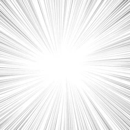Motion radial zoom speed line on white background for comic books. Manga speed frame, action, explosion background.