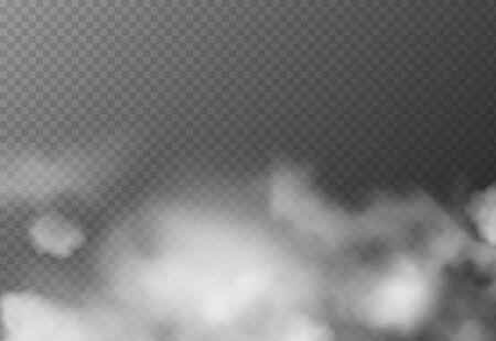 Brouillard blanc réaliste ou fumée isolée sur fond transparent. L'effet de brume d'atmosphère et les nuages de fumée encadrent l'effet spécial.