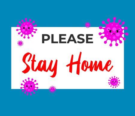 Stay home on Warning COVID 19 banner. Coronavirus campaign logo. Virus prevention concept.