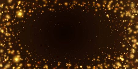 Abstract Gold glittering star dust sparkling particles. Sparkle glow light effect on transparent background. Ilustrace