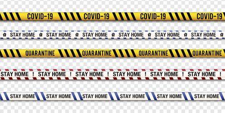 Strips of quarantine, coronavirus tape border. Set of warning coronavirus stripes. Isolated on transparent background.