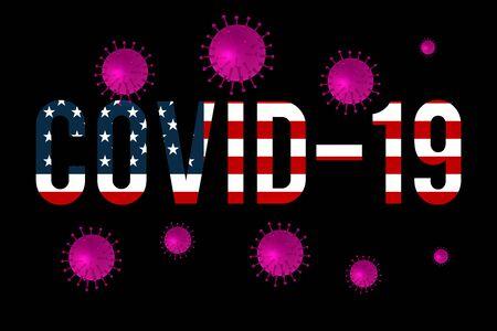 Coronavirus, warning sign flying virus against the of the flag of USA. Coronavirus 2019-nCoV. Ilustrace