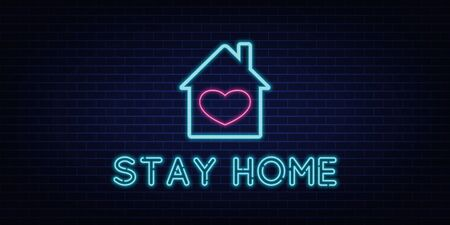 Stay Home neon sign quarantine coronavirus epidemic. Bright night neon sign against the background of a brick wall with illumination. Protection campaign or measure from coronavirus, COVID-19. Ilustrace