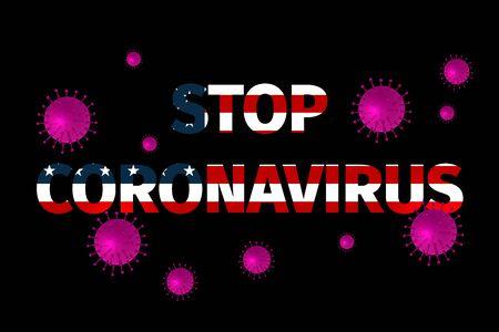 Stop Coronavirus, warning sign flying virus against the of the flag of USA. Coronavirus 2019-nCoV. Sign of coronavirus COVID-2019 in USA flag in the style of grunge.