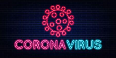 Coronavirus neon sign quarantine coronavirus epidemic. Bright night neon sign against the background of a brick wall with illumination. Protection campaign or measure from coronavirus, COVID-19. Ilustrace