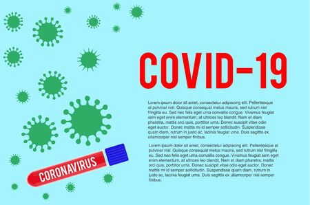 Test tube with blood sample for COVID-19, Coronavirus test. Blood testing concept.
