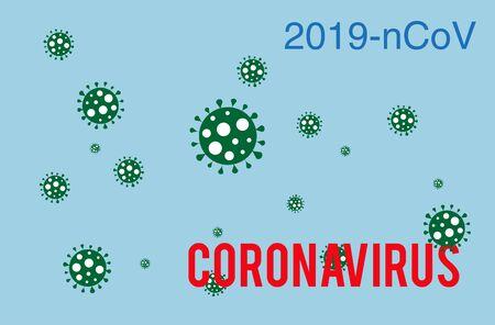 Coronavirus outbreak on a blue background. Coronavirus bacteria 2019-nCoV. Pandemic medical concept for broadcast boards