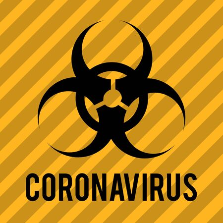 Biohazard warning sign. Danger and biohazard label sign. Coronavirus outbreak. Disease prevention, control and management icon .