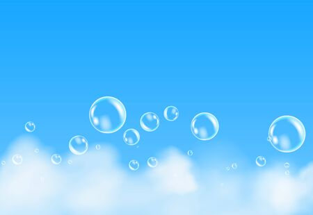 Bath foam isolated on blue background. Shampoo bubbles texture. Ilustrace