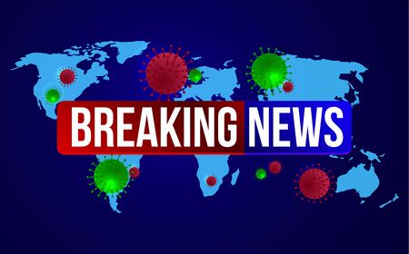 Breaking News. 2019-ncov. Test tube Coronavirus Outbreak Abstract Banner. Breaking news background for medical news and graphical image of statistics.