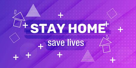 Stay at home save lives text. COVID 19 or coronavirus, epidemic protection campaign. Self isolation appeal as sign or symbol, hashtag. Reklamní fotografie