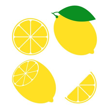 Set of Fresh lemon fruit isolated on a white background. Whole, halved, sliced citrus. A collection of citrus fruits. Lemon badge. Vettoriali