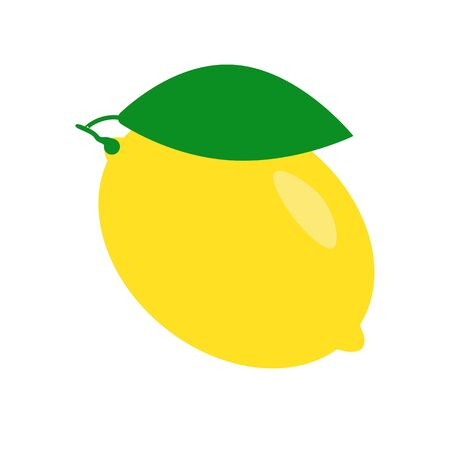 Fresh lemon fruit isolated on a white background. Lemon  badge. Icon citrus Ilustrace